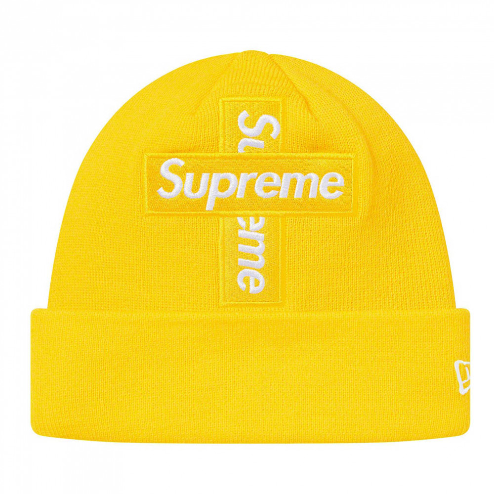 Supreme x New Era Cross Box Logo Beanie (Lemon)