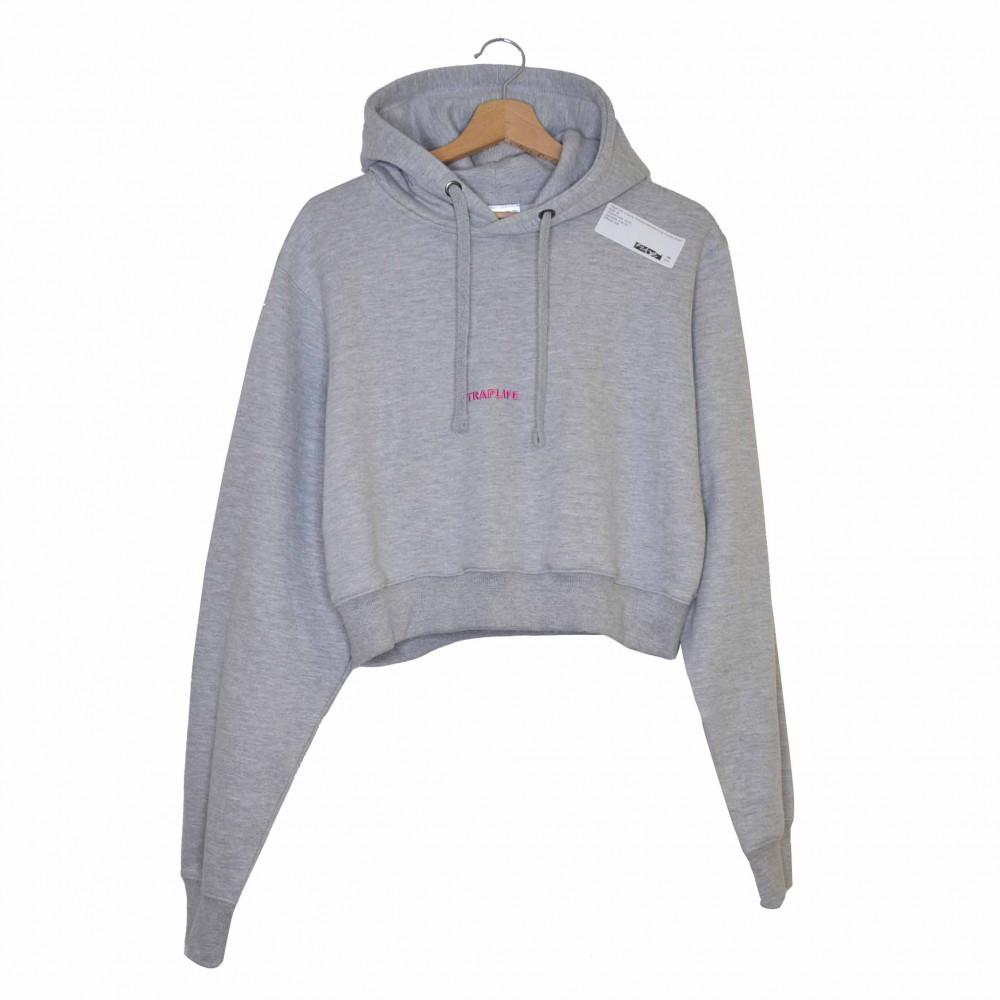 Traplife Valentine Cropped Hoodie (Grey)