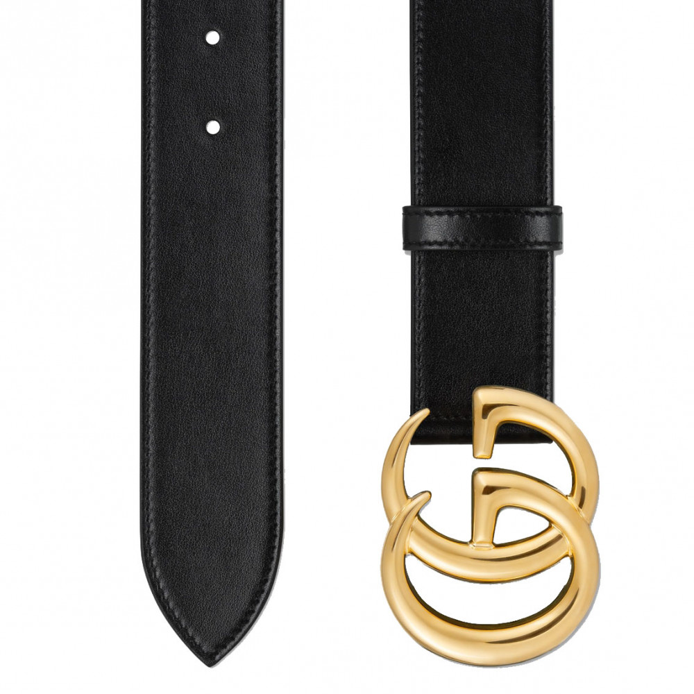 Gucci GG Marmont Leather Belt With Shiny Buckle (Black/Gold)