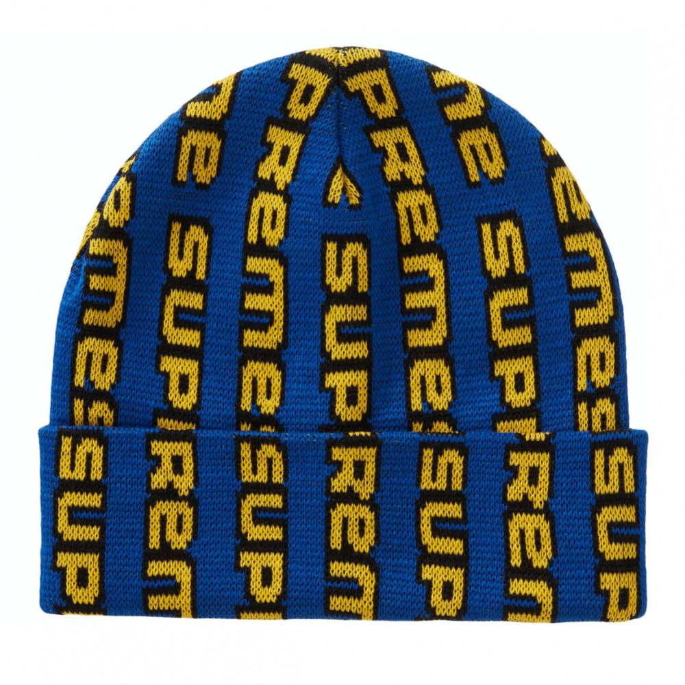 Supreme Vertical Logo Beanie (Blue)