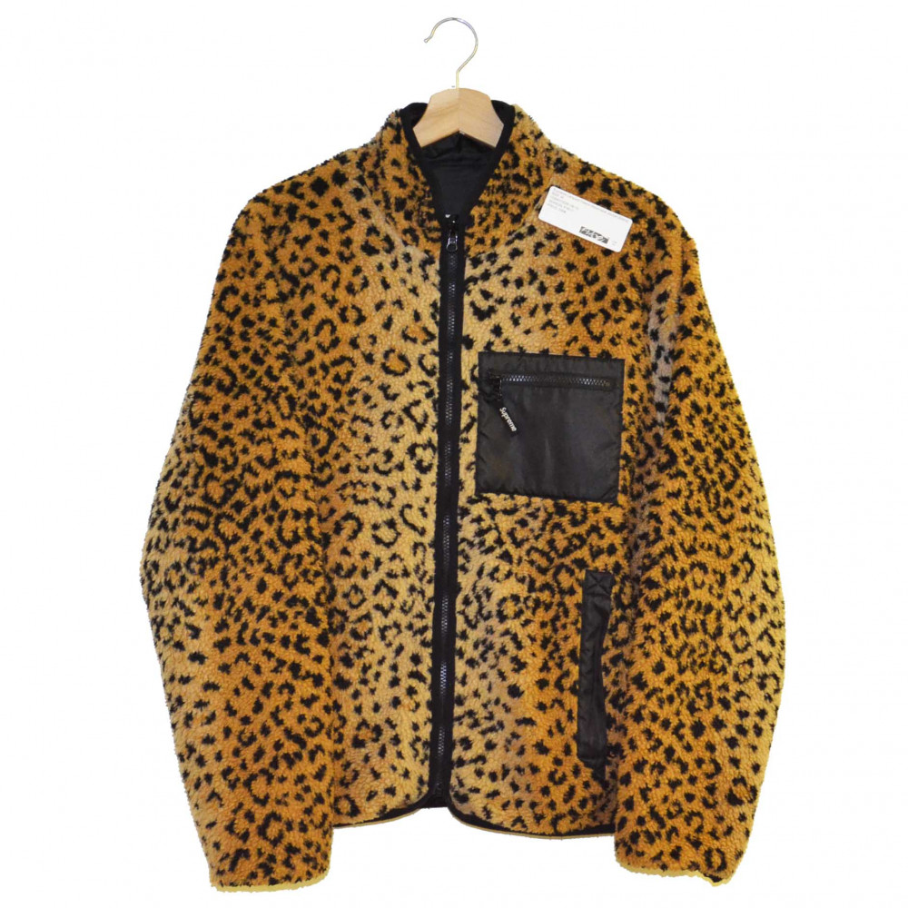 Supreme Leopard Fleece Reversible Jacket (Black)