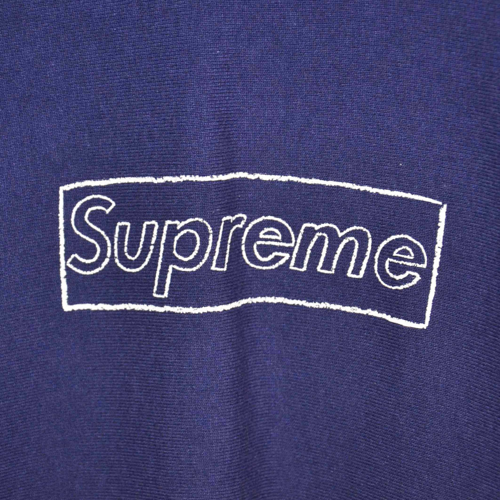 Supreme x KAWS Chalk Box Logo Hoodie (Washed Navy)