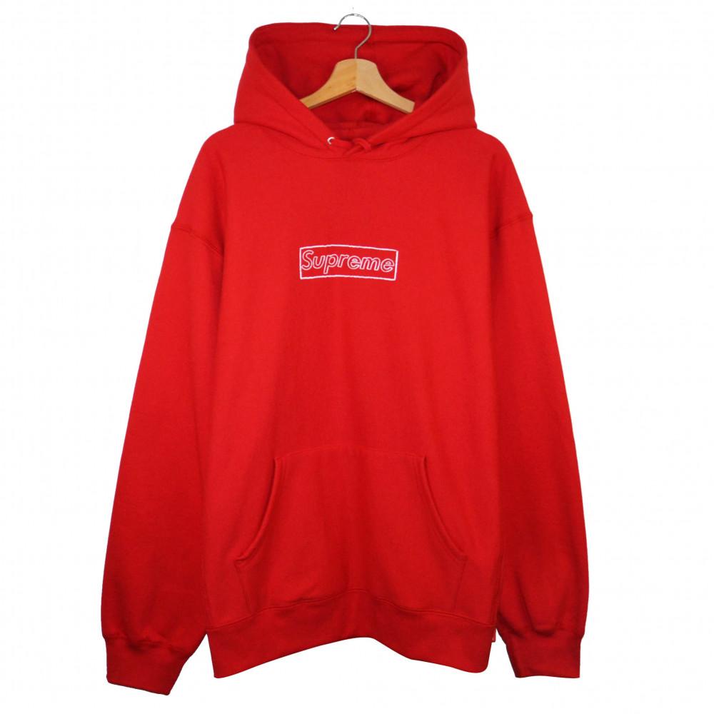 Supreme x KAWS Chalk Box Logo Hoodie (Red)