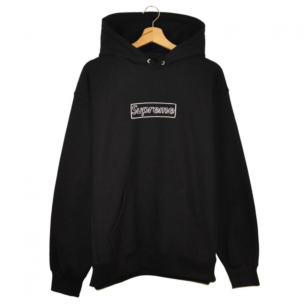 Supreme x KAWS Chalk Box Logo Hoodie (Black)