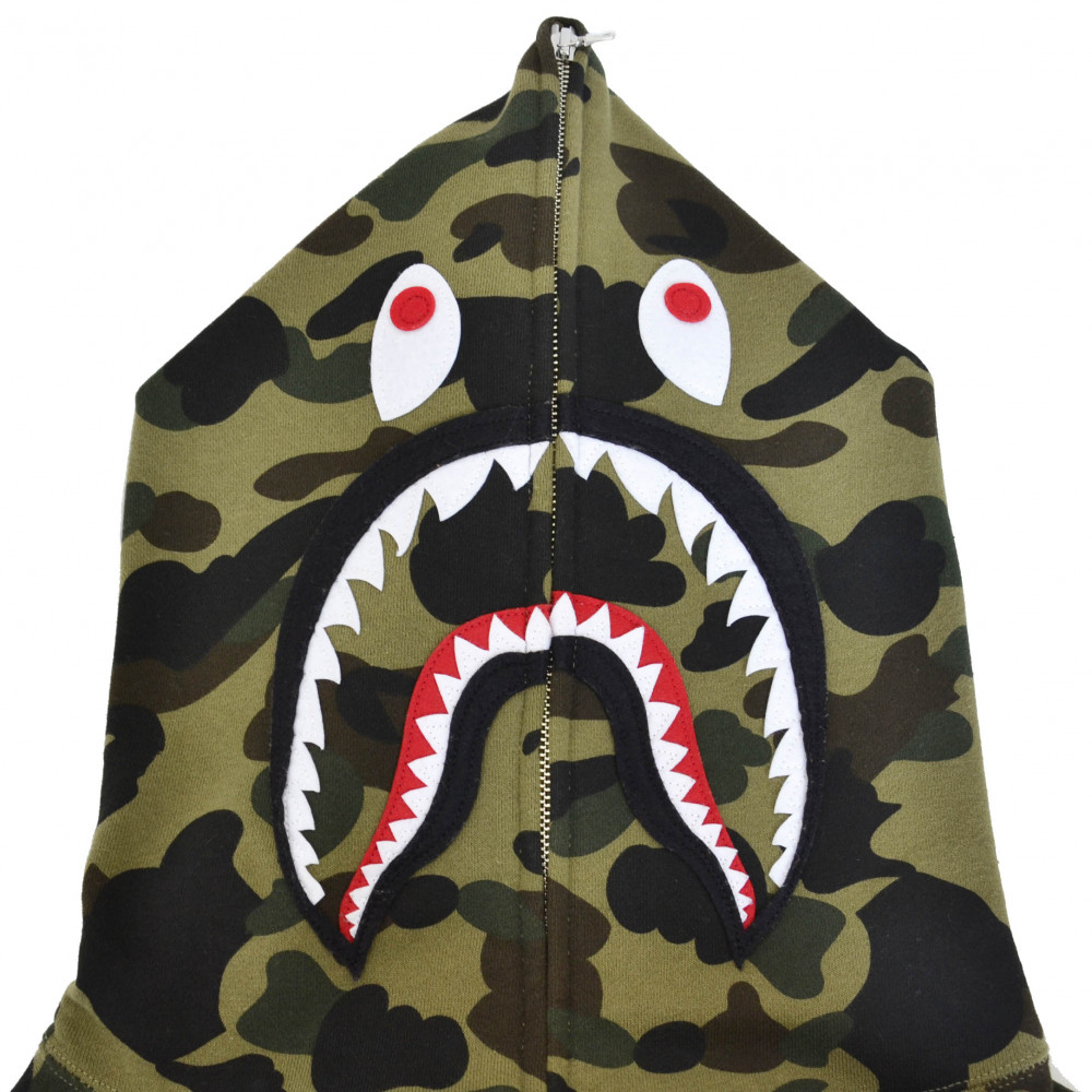 BAPE 1st Camo Shark Full Zip Hoodie (Green)