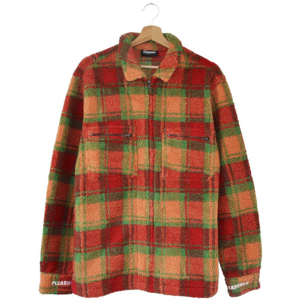 Pleasures Sherbert Zip Overshirt (Orange/Red)
