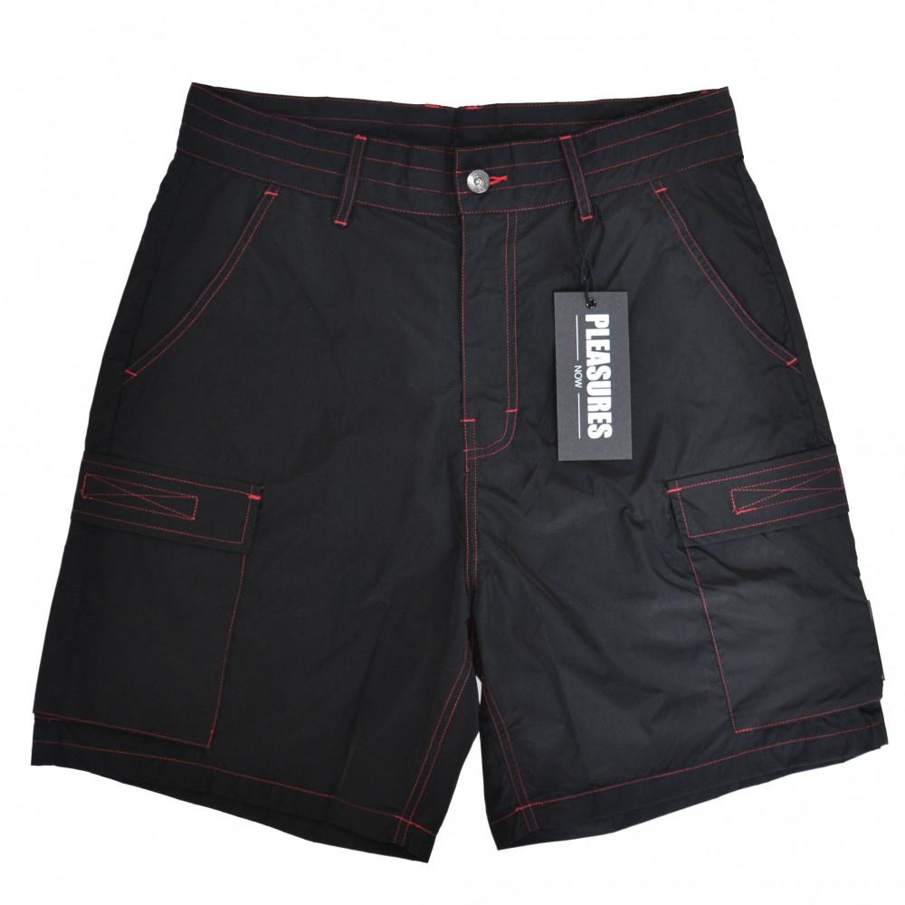 Pleasures Static Nylon Cargo Shorts (Black)