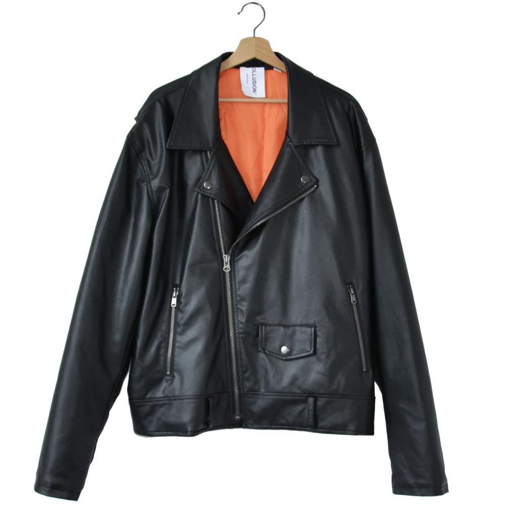 Collusion PU Leather Biker Jacket (Black)