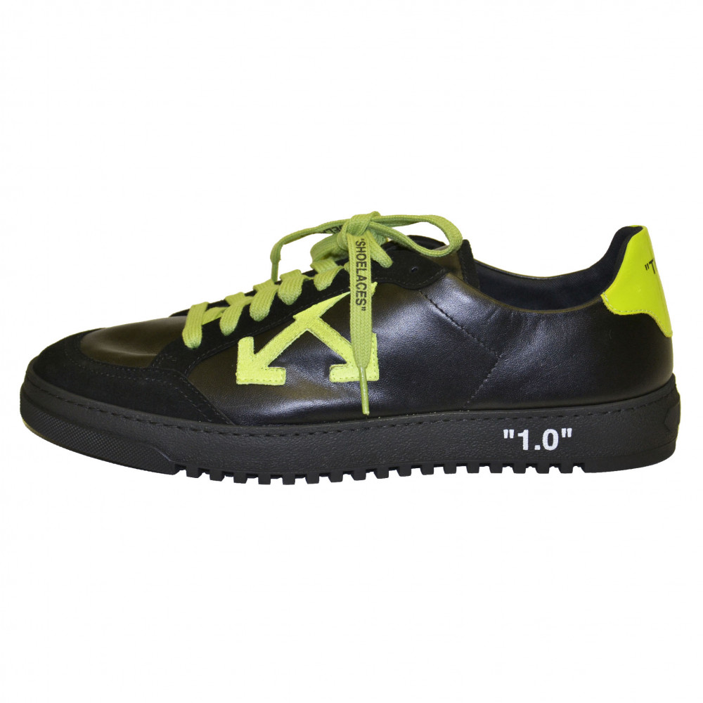 Off-White 2.0 Leather Low Top Sneakers (Black/Green)