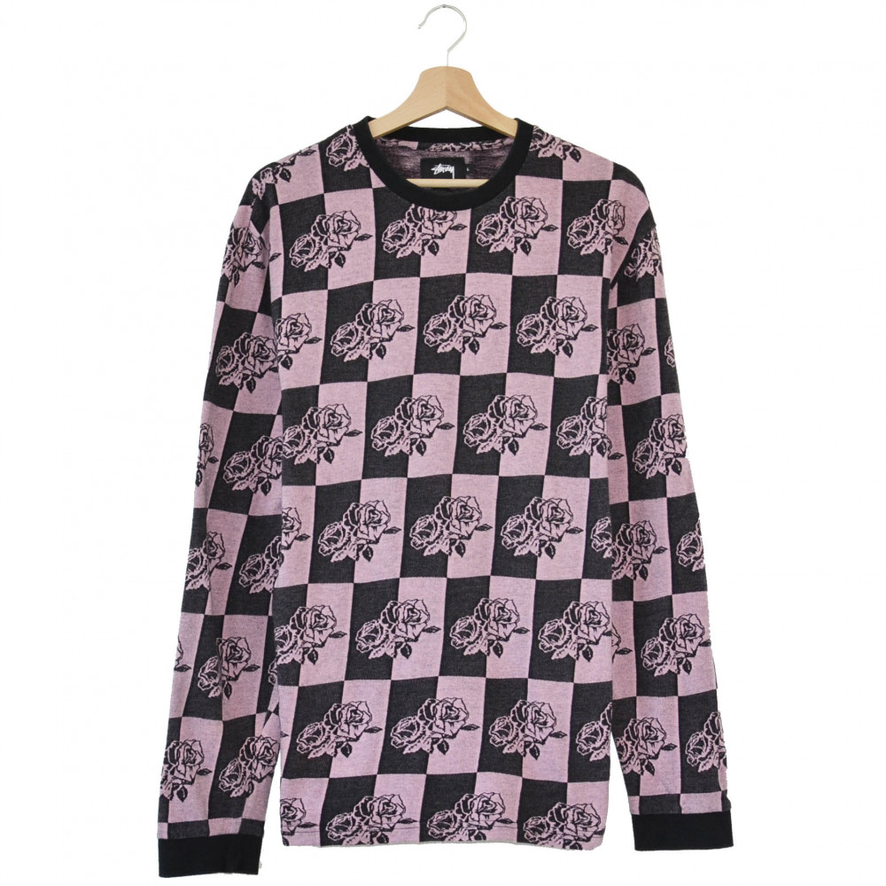 Stussy Checkered Roses L/S Top (Black/Pink)