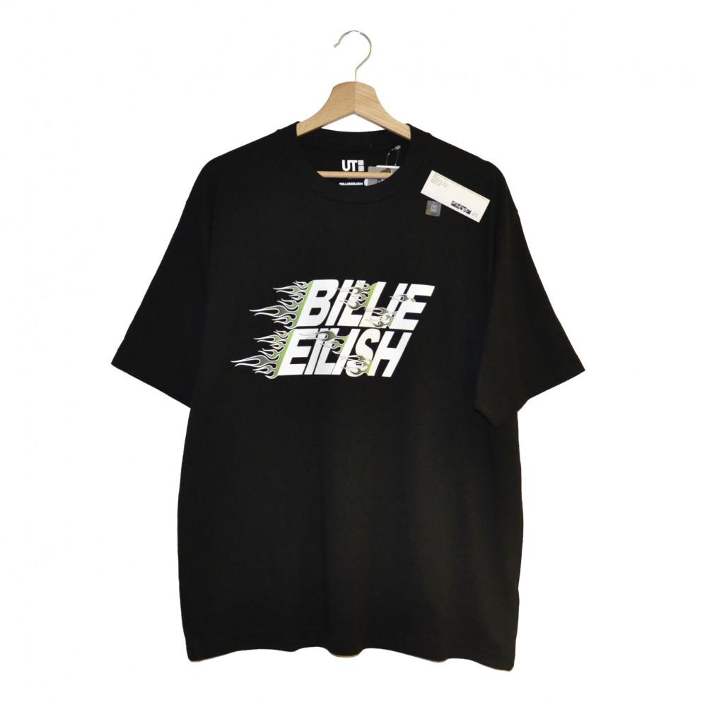 Takashi Murakami x Billie Eilish x Uniqlo Flames Font Tee (Black)