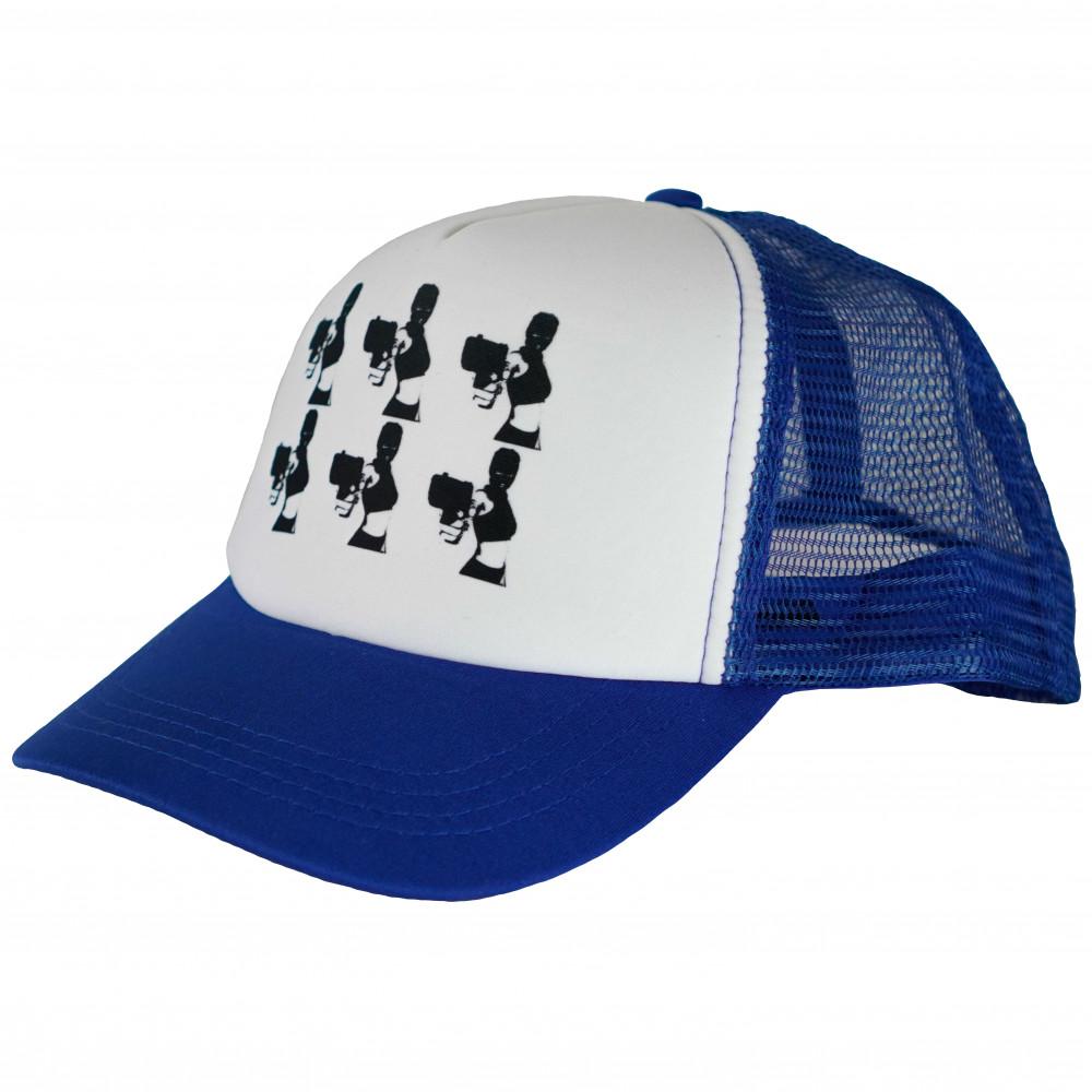 Distinct Armed and Dangerous Trucker Hat (Blue)