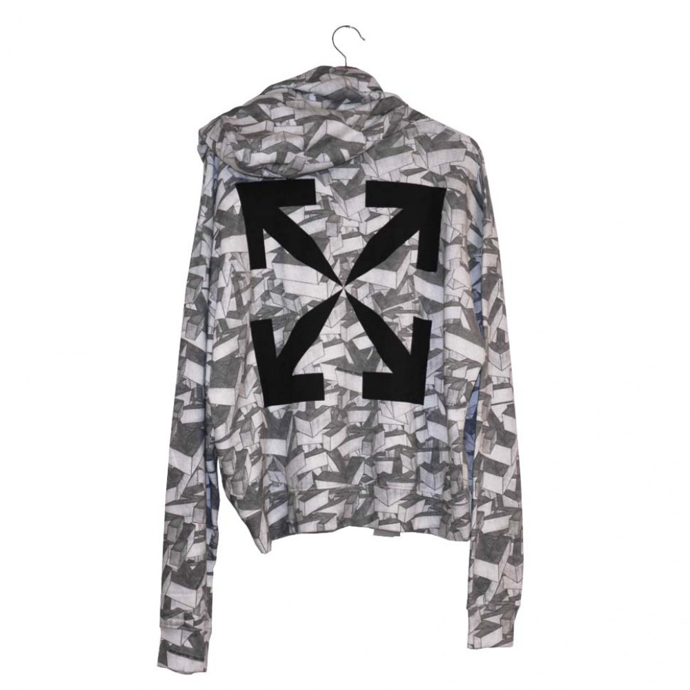 Off-White Arrows Pattern Over Hooded Sweatshirt (White)
