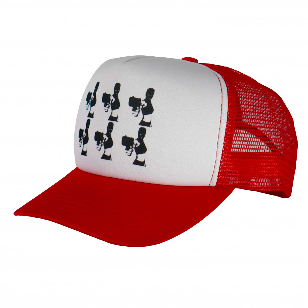 Distinct Armed and Dangerous Trucker Hat (Red)